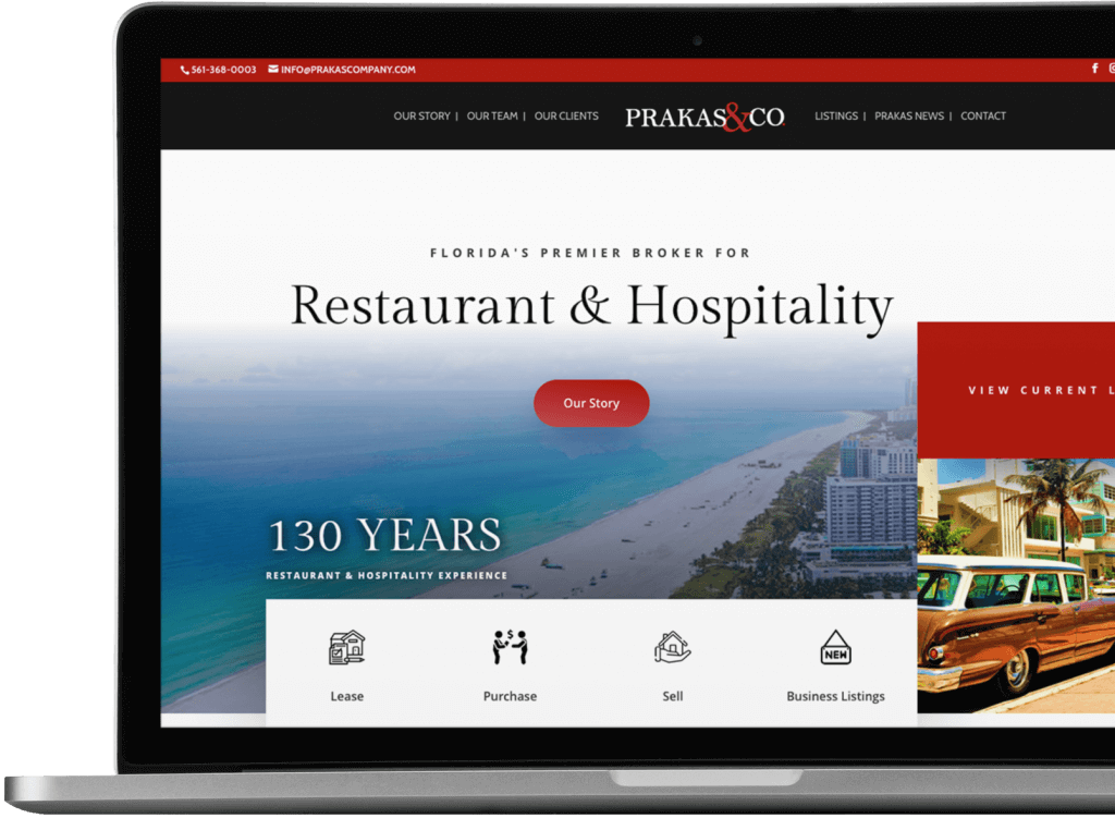 Recent website design for a Restaurant Broker in Florida