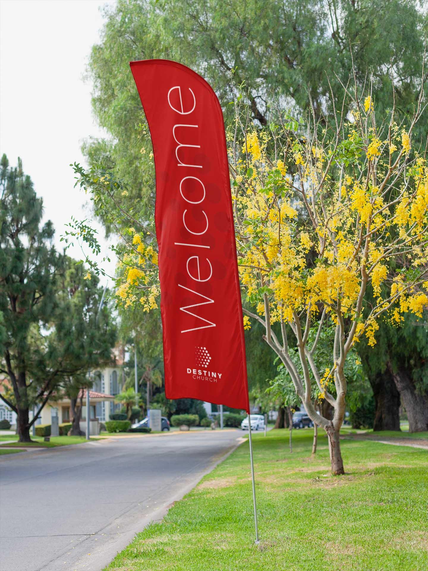 Destiny Church Feather Flag Banner