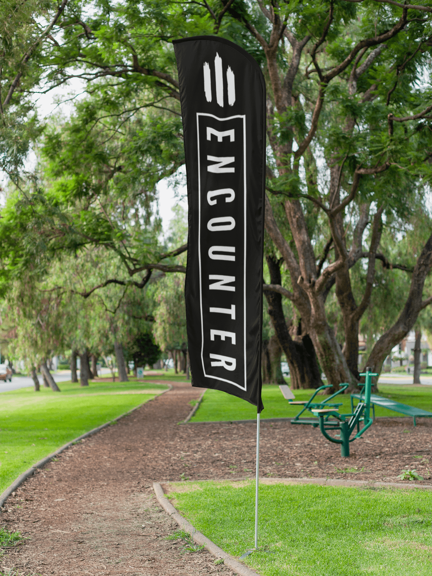 mockup featuring a flag banner on a running path 28026 2 1