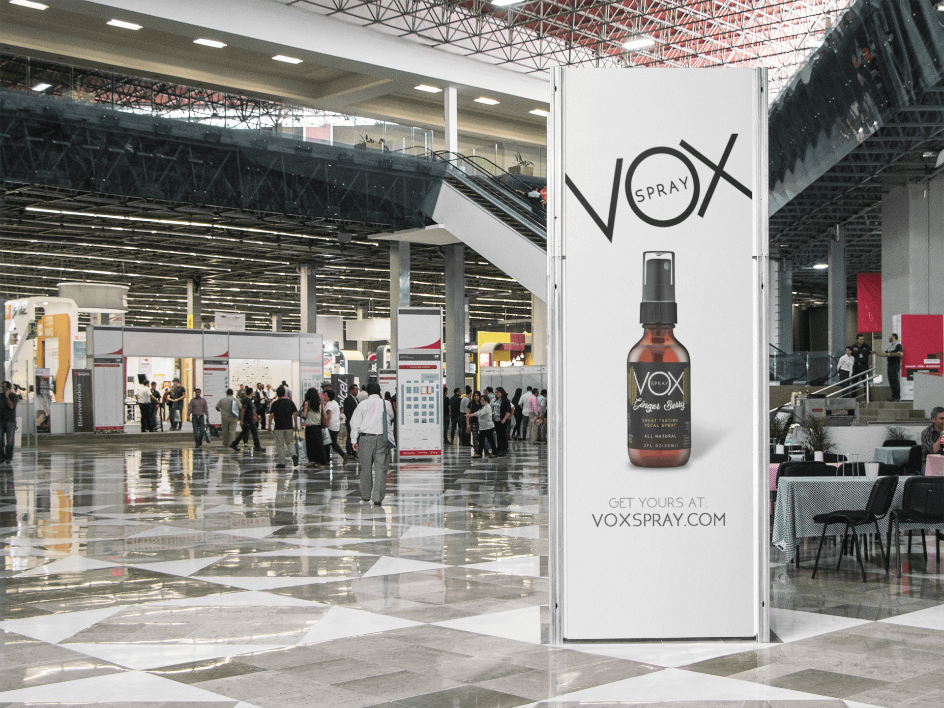 mockup of a vertical banner inside a convention center a10812 1