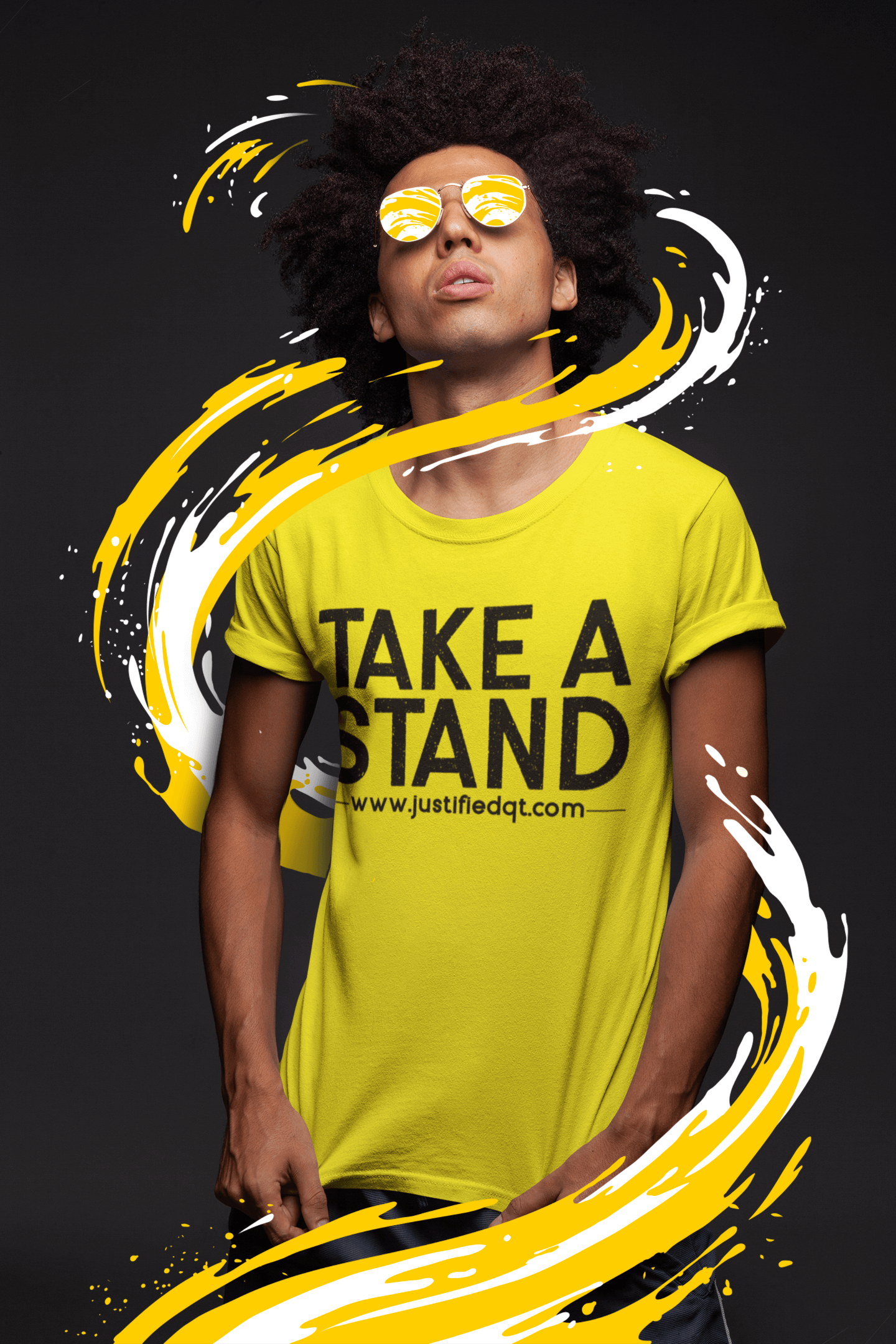 t shirt mockup of a man with dark glasses under a bright light 22859 1