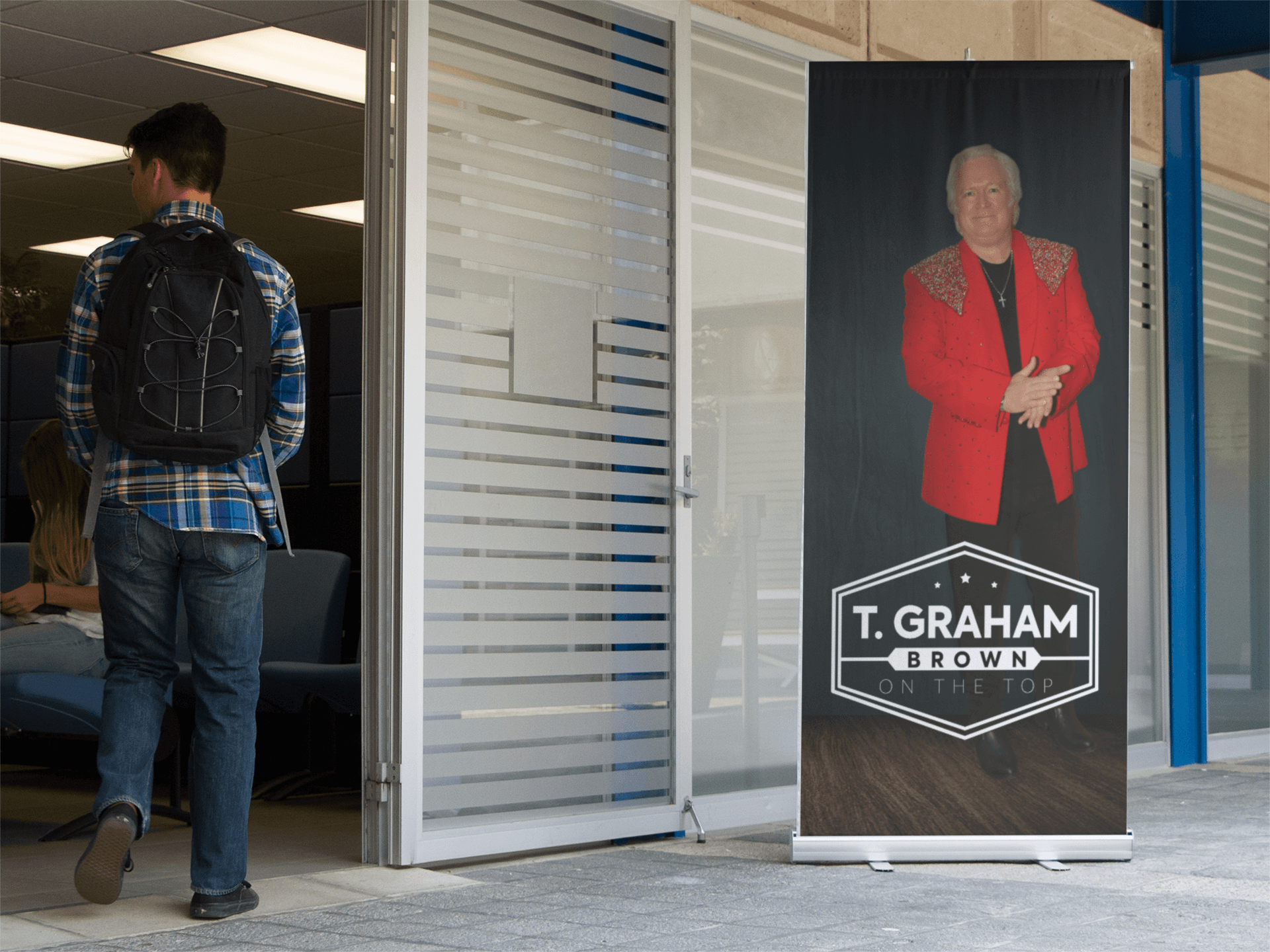 vertical banner mockup outside a school counselor s office a10582