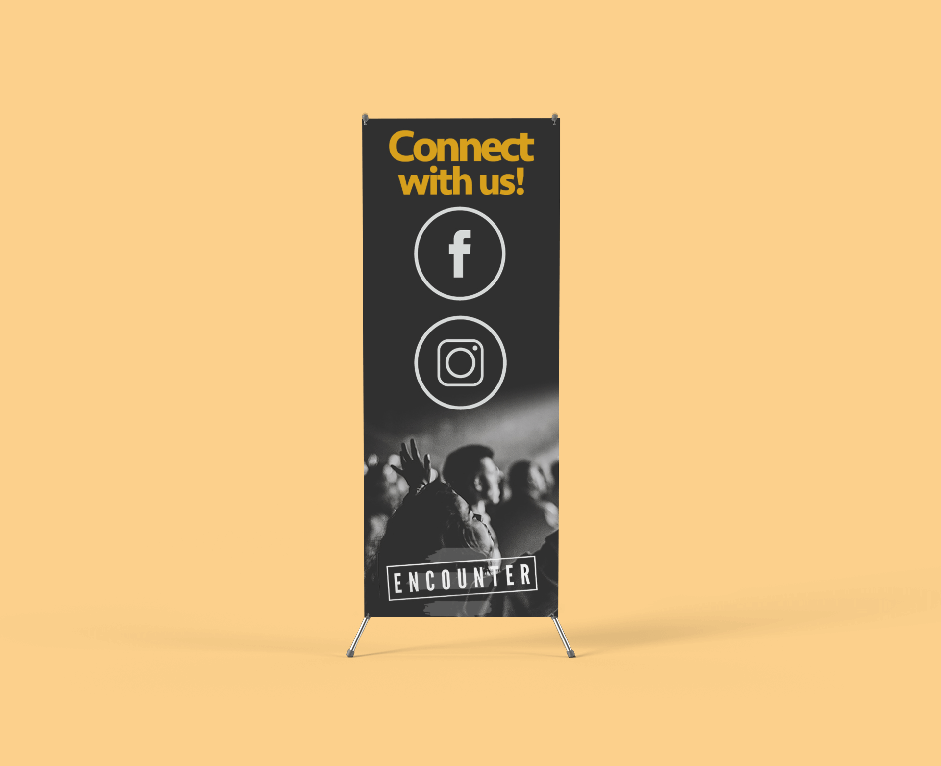 our work Our Work x stand banner mockup with a customizable backdrop 809 el 2